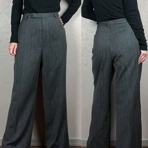 Vintage High Rise Wide Leg Wool Trousers Gray